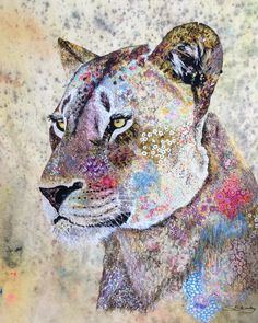 Lioness textile embroidered art by Sophie Standing