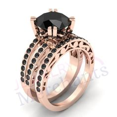 Promise Ring Set Ct Lab Made Black Moissanite Round Wedding Ring Set 925 Sterling Silver Rose Gold Over Engagement Bridal Ring Set Moissanite, Affordable Rings, 925 Silver, Sterling Silver, Rose Gold Plates, Bracelet Watch, Lab, Wedding Rings, Jewels