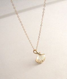 Gold Gingko Leaf Necklace, gold leaf necklace, woodland jewelry - Gold Filled Chain 18 inch on Etsy, $19.00