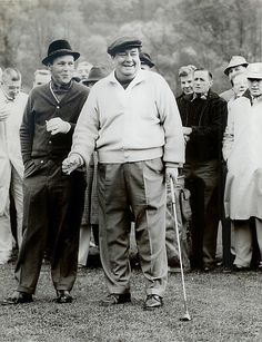 """Arnold Palmer and Jackie Gleason at the Shawnee Country Club on the Delaware River in October 1960. """"I could beat him at pool, golf, whatever,"""" Palmer joked, """"the only thing he could beat me at was drinking!"""""""