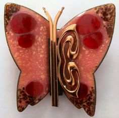 Vintage 1950s signed Matisse enamel on copper salmon pink butterfly brooch with copper overlay
