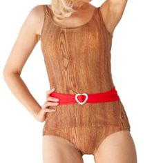 Wood print swimsuit with red belt  http://www.etsy.com/listing/65893466/dipper-sheathed-onepiece-belted-swimsuit