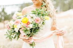 Brightly coloured bouquet | Emily Sacco Photography