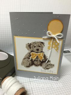 stampin up,baby bear Baby Shower Cards, Baby Cards, Kids Cards, Kids Birthday Cards, Handmade Birthday Cards, Card Making Inspiration, Making Ideas, Scrapbook Cards, Scrapbooking