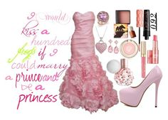 """""""I would kiss a hundred frogs if I could marry a prince and be a princess"""" by imagine-disney on Polyvore featuring Bloomingdale's, Emily & Ashley, Monique Lhuillier, Benefit and Stila"""
