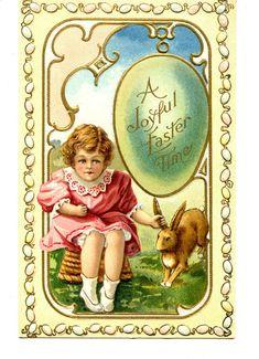 Little Girl w/ Bunny Rabbit-Egg Border-Easter Greeting Holiday Vintage Postcard #Easter
