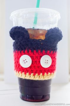 Mickey Mouse Coffee Cozy Crochet Pattern [Guest Post from Katy McKinley] Crochet Coffee Cozy, Crochet Cozy, Crochet Gifts, Cute Crochet, Crotchet, Crochet Mickey Mouse, Minnie Mouse, Coffee Cozy Pattern, Confection Au Crochet