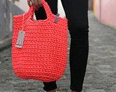 Crochet Bag Knitted Handbag NEON PINK color Scandinavian Style Modern Crocheted Tote Market Bag Net Fluorecentic Colour Slow Fashion Knit