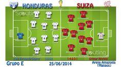 Grupo E: Honduras vs Suiza  Onces iniciales y sistemas de juego