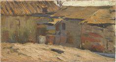 Pablo PICASSO. Casas de Horta de Sant Joan,1898-1899. Óleo sobre tela adherida sobre madera. 10,7 x 19,5 cm.