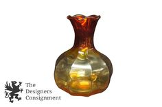 Stunning Amber to Fire Handmade Fluted Glass Vase Vintage Bud Retro 7"