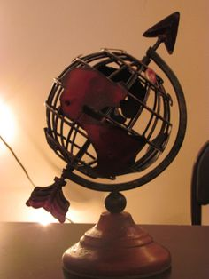 VINTAGE STYLE GLOBE Iron Metal Red Wood Base Small Travel Wedding Room Decor Airplane Plane World Old Rustic Map Country Brown Red on Etsy, $30.00