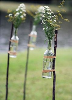 Rethinking my previous aisle decor idea - this would be SO cute at our mountaintop wedding. Simple, cheap, and easy DIY.