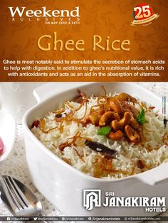 Ghee rice makes your platter interesting! Enjoy your #weekend with your loved ones at #Srijanakiram_Hotels.