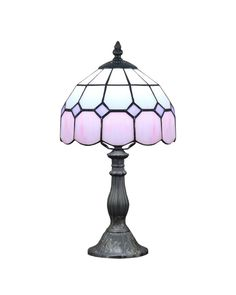 Modern Tiffany Pink Glass Beside Table Lamps