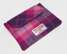 Ipad Mini Clutch Harris Tweed Tartan Sunset Pink