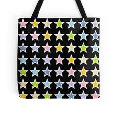 White Outlined Pastel Rainbow Stars #bag #tote #totebag #shoppingbag #reusable #purse #fashionbag #handbag