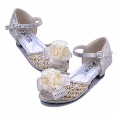 Gold Lace Rosette Flower Pageant Party Girl Girls Dress Sandals Shoes SKU-133430
