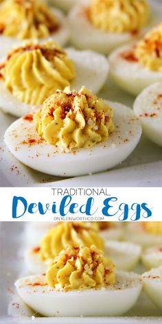Traditional Deviled Eggs Who says deviled eggs are just for parties and barbecues? Traditional Deviled Eggs are great anytime! Make this recipe for Easter brunch & WOW your guests. via Kleinworth & Co. Potluck Recipes, Easter Recipes, Egg Recipes, Appetizer Recipes, Holiday Recipes, Easter Dinner Menu Ideas, Recipies, Easter Dinner Recipes, Quick Recipes