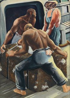 """Workers,"" Charles Alston, ca. watercolor, ink and gouache, 19 x 14 private collection. Industrial Paintings, Industrial Wall Art, Artwork Design, Wall Art Designs, Artwork Ideas, Art Ideas, African American Art, American Artists, Charles Alston"