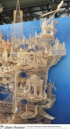 Nothing but toothpicks. Took 37 years to make..this is just a small part of it. | uberHumor.com Toothpick Sculpture, Funny Things, Art Art, Printmaking, City Photo, It Works, Amazing Art, Creative Art, Architecture