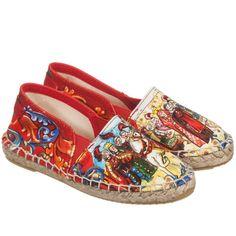 Red 'Carretto Siciliano' Espadrille Shoes, Dolce & Gabbana, Boy