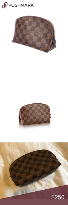 Louis Vuitton Damier Ebene Cosmetic Pouch Louis Vuitton Damier Ebene Cosmetic Pouch  With its large zipper, this cosmetic pouch in Damier canvas easily stores all small products. It features a flat pocket, ideal for holding a mirror.  *CONDITION: Pre-owned, but in good condition. Some signs of wear/makeup residue on the inside of the cosmetic pouch (see pictures for reference).  - Damier canvas, washable textile lining - Golden brass pieces - Zipper closure - Inside flat pocket Louis Vuitton…