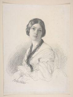 Portrait of Baroness Gudin, née Margareth Louis Hay, Franz Xavier Winterhalter, 1842, Graphite, MET
