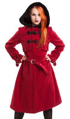 Red coat with belt, black ties and hood Vixxsin