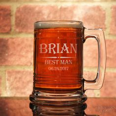 Groomsman Personalized Beer Mug with Engraved by DesignstheLimit