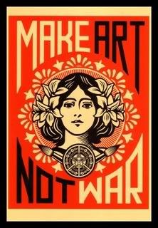 Make Art Not War If only Shepard Fairey's image campaign could manifest a reality in which war no longer existed. Shepard Fairey, Make Art Not War, silkscreen print. Retro Poster, Poster Vintage, Poster Design, Art Design, Silkscreen, Propaganda Art, Illustration Art, Illustrations, Kunst Poster
