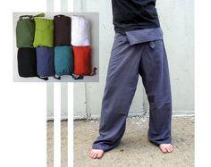 Thai Fisherman Pants ,Yoga Pants Plain Color , Men / Women via Etsy