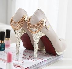 Crystal and chain high heel pumps