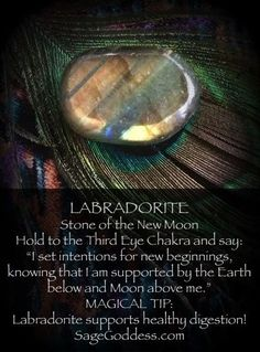 Labradorite is the stone of the new moon! Use it to set magical intentions for the month ahead. Also helps with digestion and vision! Crystal healing for better living, find out more at Crystal Healing Stones, Crystal Magic, Stones And Crystals, Gem Stones, Healing Rocks, Crystal Shop, Reiki, Chakras, Chakra Crystals