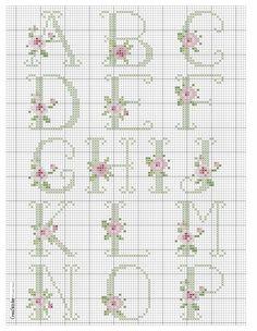 Abécédaire roses tons pastels 1/3