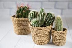 Diy Crochet Basket, Crochet Box, Jute Crafts, Diy And Crafts, Crochet Pencil Case, Key Diy, Mini Vasos, Deco Studio, Plant Covers