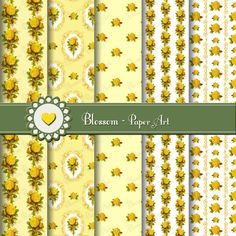 Yellow Vintage Roses Scrapbooking Paper  by blossompaperart, $4.99