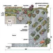 "Tacoma, Washington-based garden designer Richard Hartlage sketched out the basic ""bones"" of this backyard garden: one patio for outdoor dining off the deck and another tiny one for relaxing in a back corner; a grid of round and rectangular raised beds; and two 8-foot-tall wire screens. The angling of the terraces and raised beds away from the house visually enlarges the space. Curved elements help soften the geometry of the plan. Raised beds give the flat lot topographical interest..."