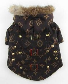 c5e6148c1bdf9b Dog Outfits · This Louis Vuitton inspired fur trimmed fleece coat is sure  to be a customer favorite They