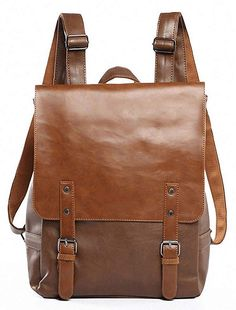 1354a54f39ea Kenox Vintage PU Leather Laptop Backpack Knapsack Rucksack Weekender  Daypack Bag brown backpack purse for women
