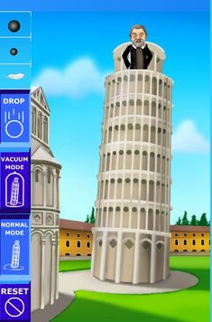 Great site! This game allows kids to do the same experiment Galileo did off of the Leaning Tower of Pisa! Much more on this post on force, motion and energy!