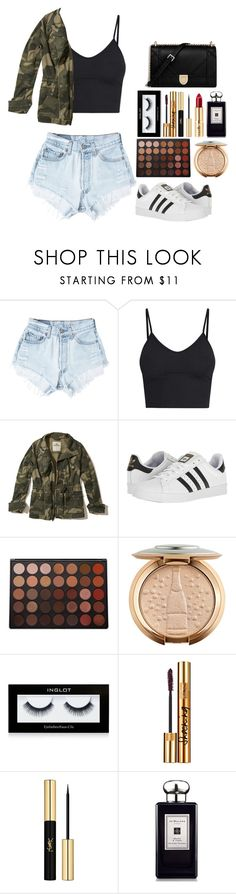 """""""Camo Couture"""" by nada-alo ❤ liked on Polyvore featuring Levi's, Hollister Co., adidas, Morphe, Inglot, Yves Saint Laurent and Jo Malone"""