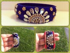 How to make silk thread designer bangle easy step by step tutorial - Bangle Galery Silk Thread Bangles Design, Silk Bangles, Silk Thread Earrings, Bridal Bangles, Thread Jewellery, Paper Jewelry, Diy Jewellery, Jewelry Art, White Gold Bridal Jewellery