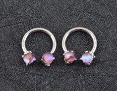 Skye Purple Cat Eye Opal Silver 14G Horseshoe Barbell - Septum Piercing Jewelry - Rook Hoop - Daith Earring - Cartilage - Tragus -MyBodiArt.com