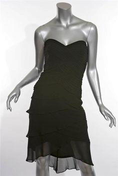 Tadashi Dress  Black Silk Strapless Knee Length Evening Ruffle Dress #Tadashi #Tiered #Cocktail