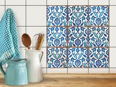 Dekor-Fliesen | Selbstklebende Aufkleber Folie Sticker Badfliesen Küchen-Folie Badezimmergestaltung |10x10 cm Design Muster Hamam Vibes - 9 Stück