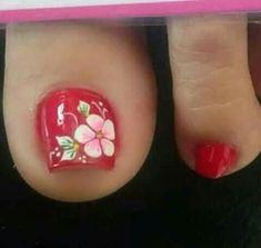 Pedicure Nail Art, Pedicure Designs, Toe Nail Designs, Toe Nail Art, Pretty Toe Nails, Cute Toe Nails, Great Nails, Hawaiian Nails, Blue Acrylic Nails