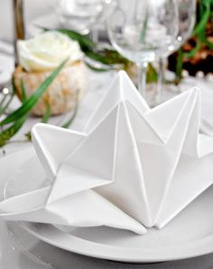 Napkin Fold - 35 Beautiful Examples of Napkin Folding A nice table setting doesn't necessarily mean expensive tableware or the finest table linens. You can DIY napkin folding for different themes or purposes. Christmas Tree Napkin Fold, Christmas Napkins, Christmas Diy, Rustic Napkins, Festa Party, Wedding Dinner, Wedding Napkins, Deco Table, Cloth Napkins
