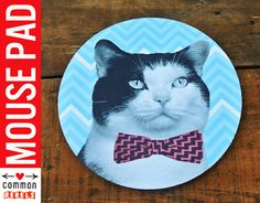 Bow Tie kitty CAT mouse pad
