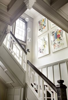 LDa Architects - entrances/foyers - staircase art, geometric staircase, marvelous entrance/foyer staircase design with glorious woodwork Entry Stairs, Entrance Foyer, Interior Exterior, Interior Architecture, Interior Design, Office Light, Sweet Home, Eclectic Modern, Eclectic Design